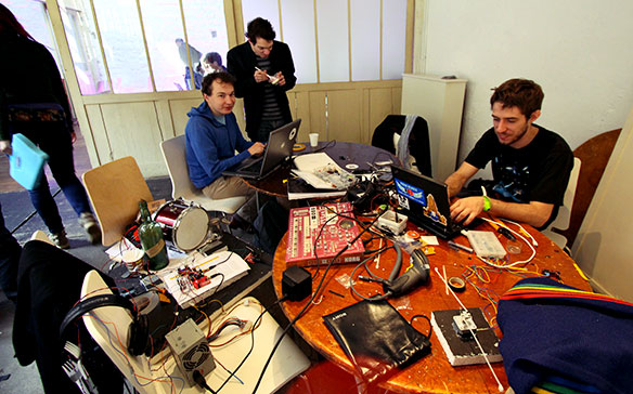 Hackers tinkering with physical objects and Arduinos