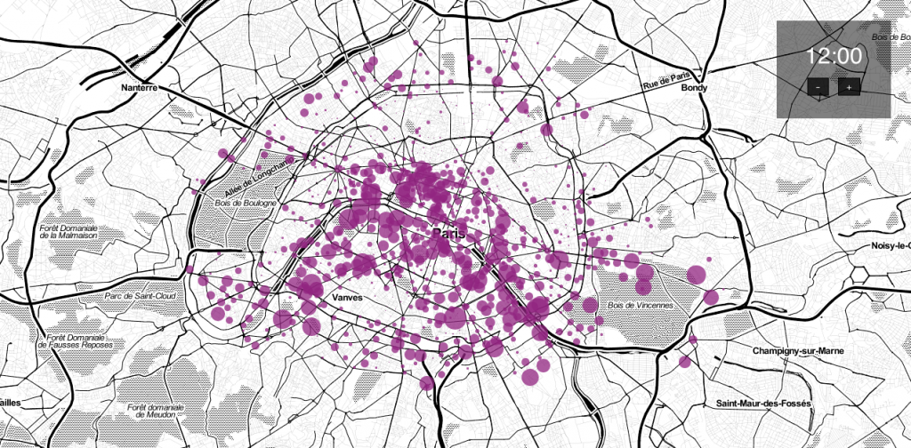 Carte des vélibs à Paris