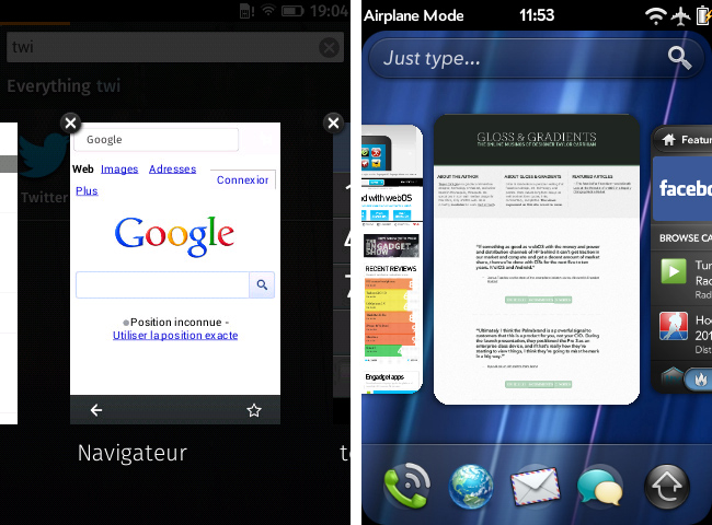 Firefox OS on the left, webOS on the right
