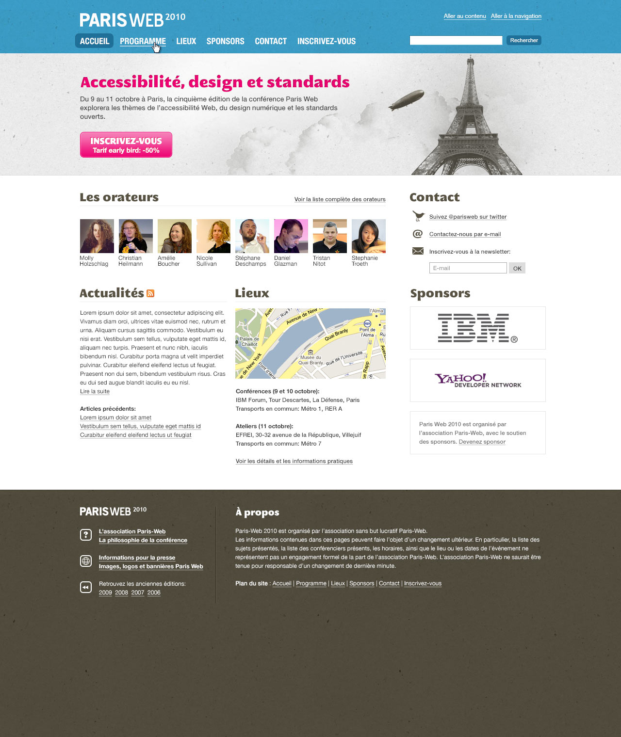 Paris Web 2010 mockup